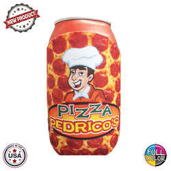 JIT44FC - Full Color Collapsible Foam Pepperoni Pizza Coolie