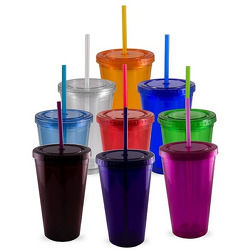 JIT110 - 16oz Double Wall Acrylic Tumbler with Lid and Straw