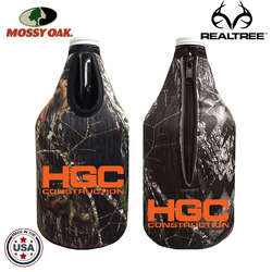 JIT54TC - Mossy Oak or Realtree Premium Collapsible Foam 64oz Growler Bottle Zipper Insulator