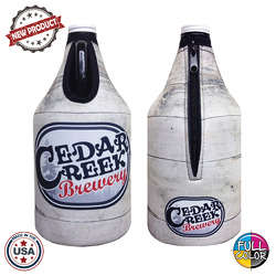 JIT54FC - Premium Full Color Dye Sublimation Foam 64oz Growler Bottle Zipper Insulator