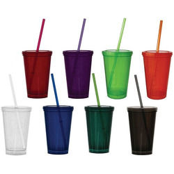 JIT111 - 16oz Double Wall Economy Tumbler with Lid and Straw